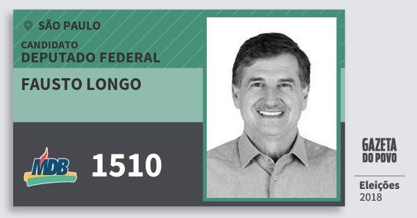 Santinho Fausto Longo 1510 (MDB) Deputado Federal | São Paulo | Eleições 2018