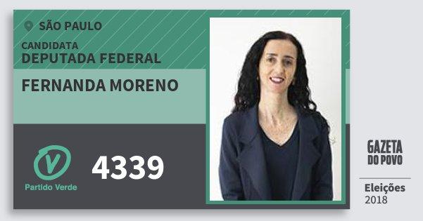 Santinho Fernanda Moreno 4339 (PV) Deputada Federal   São Paulo   Eleições 2018