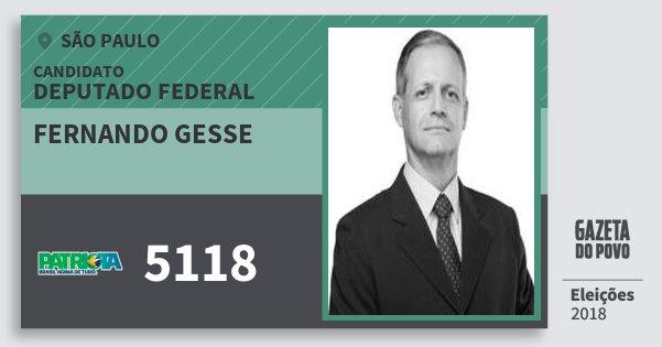 Santinho Fernando Gesse 5118 (PATRI) Deputado Federal   São Paulo   Eleições 2018