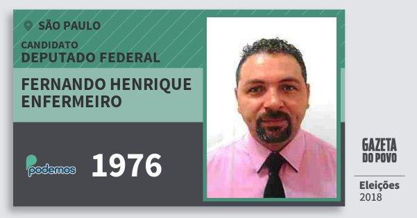 Santinho Fernando Henrique Enfermeiro 1976 (PODE) Deputado Federal | São Paulo | Eleições 2018