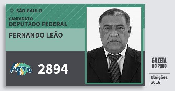Santinho Fernando Leão 2894 (PRTB) Deputado Federal | São Paulo | Eleições 2018
