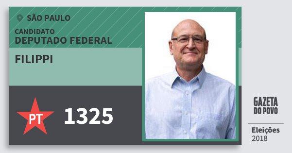Santinho Filippi 1325 (PT) Deputado Federal | São Paulo | Eleições 2018