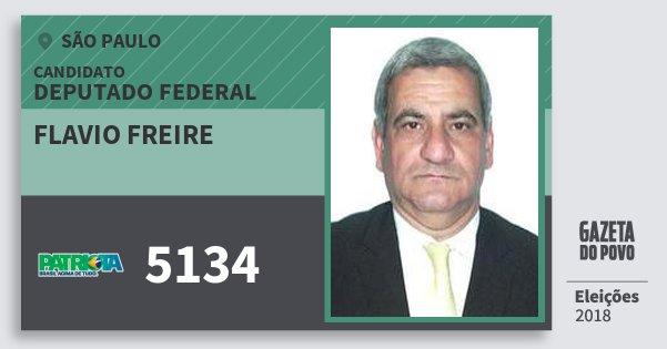 Santinho Flavio Freire 5134 (PATRI) Deputado Federal | São Paulo | Eleições 2018