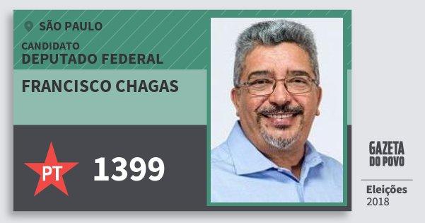 Santinho Francisco Chagas 1399 (PT) Deputado Federal | São Paulo | Eleições 2018