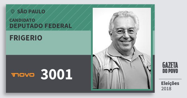 Santinho Frigerio 3001 (NOVO) Deputado Federal | São Paulo | Eleições 2018