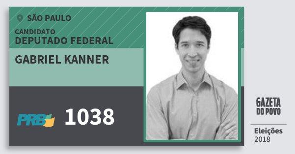 Santinho Gabriel Kanner 1038 (PRB) Deputado Federal | São Paulo | Eleições 2018