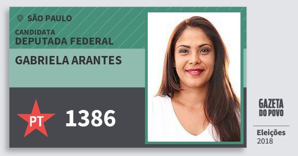 Santinho Gabriela Arantes 1386 (PT) Deputada Federal | São Paulo | Eleições 2018