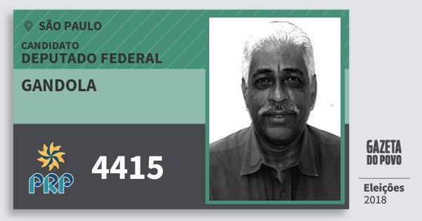 Santinho Gandola 4415 (PRP) Deputado Federal | São Paulo | Eleições 2018