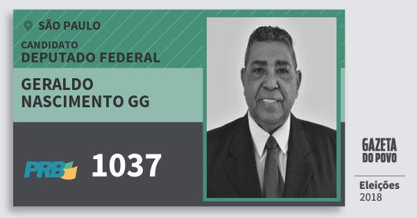Santinho Geraldo Nascimento Gg 1037 (PRB) Deputado Federal | São Paulo | Eleições 2018