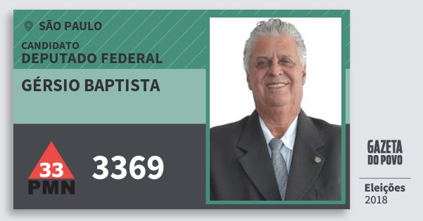 Santinho Gérsio Baptista 3369 (PMN) Deputado Federal | São Paulo | Eleições 2018