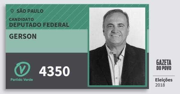 Santinho Gerson 4350 (PV) Deputado Federal | São Paulo | Eleições 2018