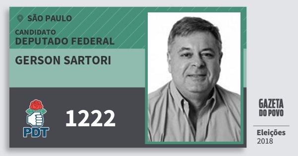 Santinho Gerson Sartori 1222 (PDT) Deputado Federal | São Paulo | Eleições 2018