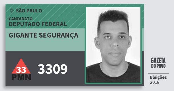 Santinho Gigante Segurança 3309 (PMN) Deputado Federal | São Paulo | Eleições 2018