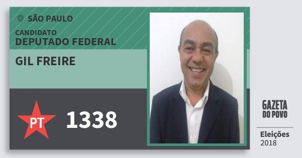Santinho Gil Freire 1338 (PT) Deputado Federal | São Paulo | Eleições 2018
