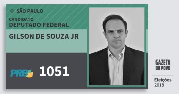 Santinho Gilson de Souza Jr 1051 (PRB) Deputado Federal | São Paulo | Eleições 2018