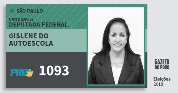 Santinho Gislene do Autoescola 1093 (PRB) Deputada Federal | São Paulo | Eleições 2018