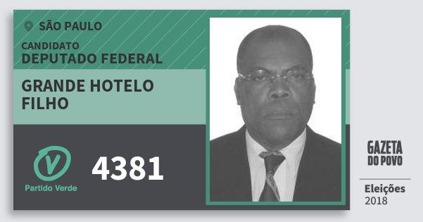 Santinho Grande Hotelo Filho 4381 (PV) Deputado Federal | São Paulo | Eleições 2018