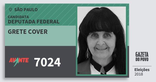 Santinho Grete Cover 7024 (AVANTE) Deputada Federal | São Paulo | Eleições 2018
