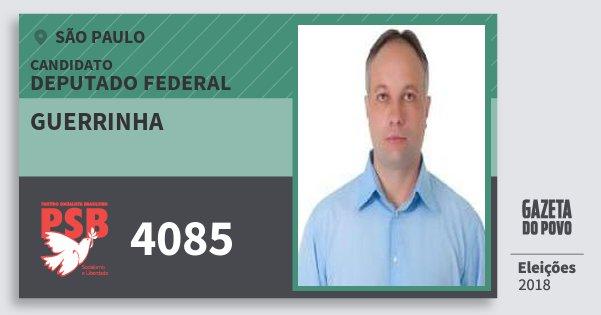 Santinho Guerrinha 4085 (PSB) Deputado Federal | São Paulo | Eleições 2018