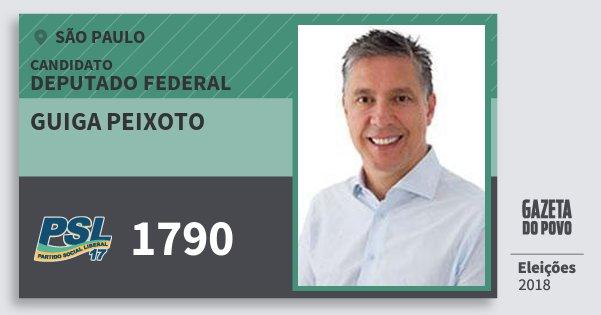 Santinho Guiga Peixoto 1790 (PSL) Deputado Federal | São Paulo | Eleições 2018
