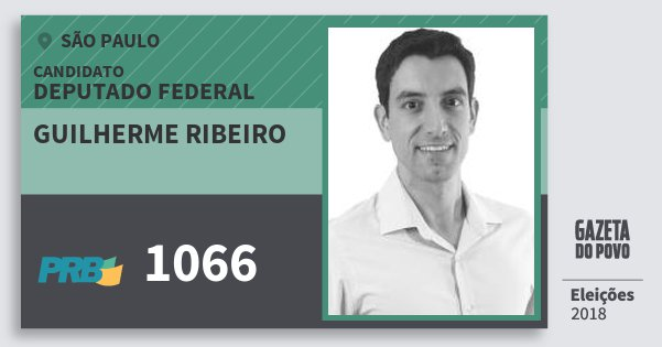 Santinho Guilherme Ribeiro 1066 (PRB) Deputado Federal | São Paulo | Eleições 2018