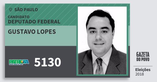 Santinho Gustavo Lopes 5130 (PATRI) Deputado Federal | São Paulo | Eleições 2018