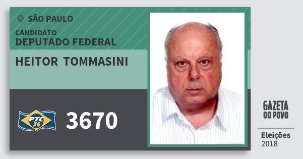 Santinho Heitor  Tommasini 3670 (PTC) Deputado Federal | São Paulo | Eleições 2018
