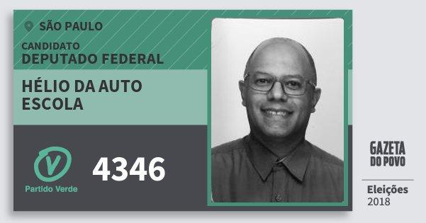 Santinho Hélio da Auto Escola 4346 (PV) Deputado Federal | São Paulo | Eleições 2018