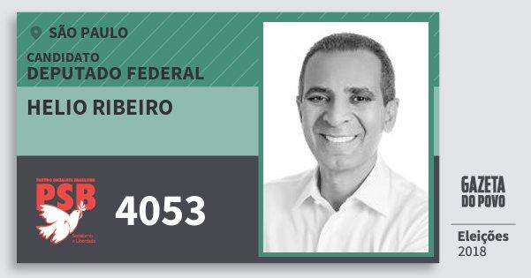 Santinho Helio Ribeiro 4053 (PSB) Deputado Federal | São Paulo | Eleições 2018