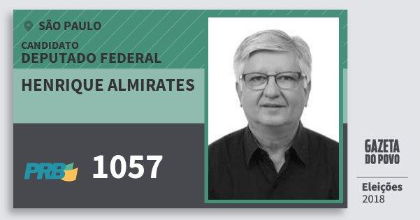 Santinho Henrique Almirates 1057 (PRB) Deputado Federal | São Paulo | Eleições 2018