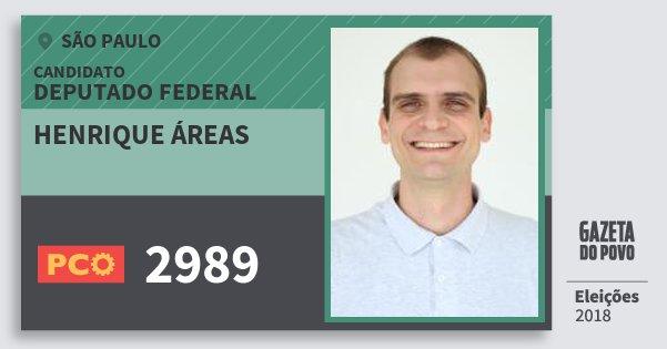 Santinho Henrique Áreas 2989 (PCO) Deputado Federal | São Paulo | Eleições 2018
