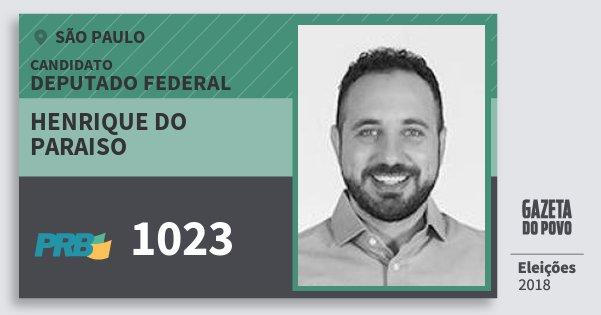 Santinho Henrique do Paraiso 1023 (PRB) Deputado Federal | São Paulo | Eleições 2018