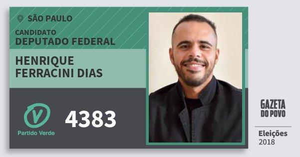 Santinho Henrique Ferracini Dias 4383 (PV) Deputado Federal | São Paulo | Eleições 2018