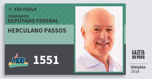 Santinho Herculano Passos 1551 (MDB) Deputado Federal | São Paulo | Eleições 2018