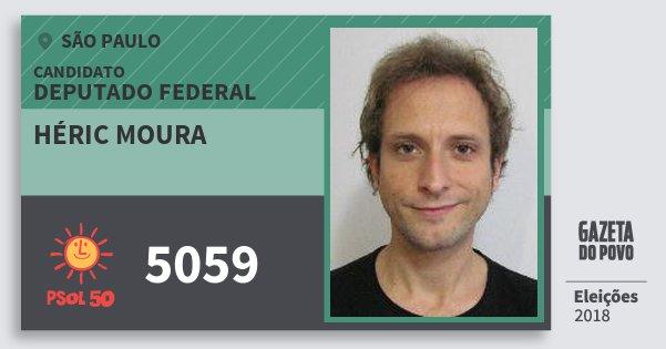 Santinho Héric Moura 5059 (PSOL) Deputado Federal | São Paulo | Eleições 2018