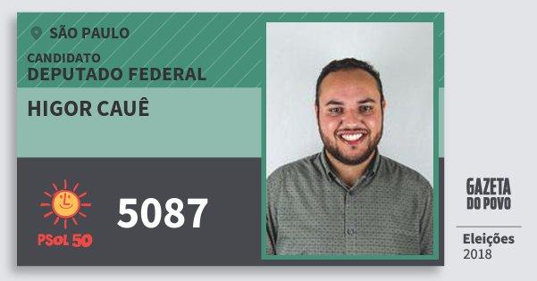 Santinho Higor Cauê 5087 (PSOL) Deputado Federal | São Paulo | Eleições 2018