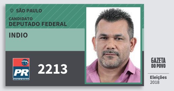 Santinho Indio 2213 (PR) Deputado Federal | São Paulo | Eleições 2018