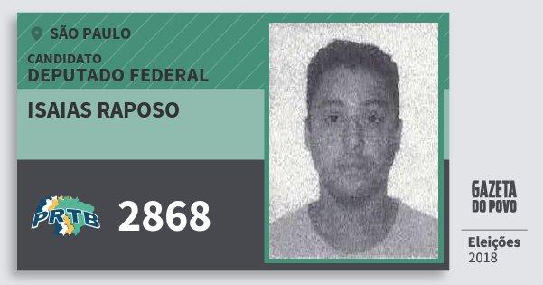 Santinho Isaias Raposo 2868 (PRTB) Deputado Federal | São Paulo | Eleições 2018