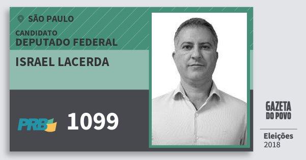 Santinho Israel Lacerda 1099 (PRB) Deputado Federal | São Paulo | Eleições 2018