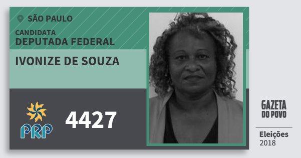 Santinho Ivonize de Souza 4427 (PRP) Deputada Federal | São Paulo | Eleições 2018