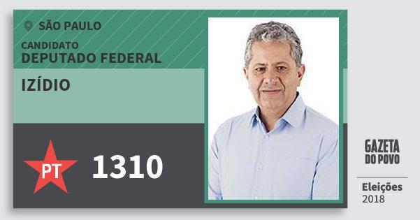 Santinho Izídio 1310 (PT) Deputado Federal | São Paulo | Eleições 2018