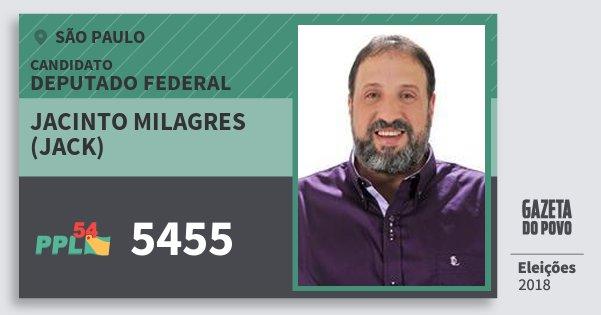 Santinho Jacinto Milagres (Jack) 5455 (PPL) Deputado Federal | São Paulo | Eleições 2018