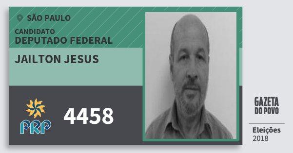 Santinho Jailton Jesus 4458 (PRP) Deputado Federal | São Paulo | Eleições 2018