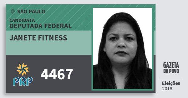 Santinho Janete Fitness 4467 (PRP) Deputada Federal   São Paulo   Eleições 2018