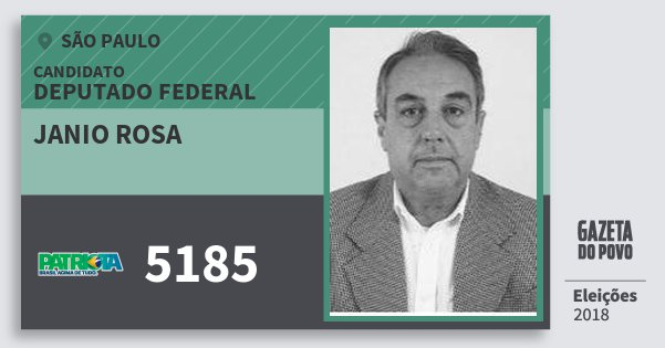 Santinho Janio Rosa 5185 (PATRI) Deputado Federal | São Paulo | Eleições 2018