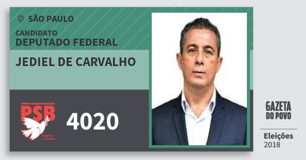 Santinho Jediel de Carvalho 4020 (PSB) Deputado Federal | São Paulo | Eleições 2018