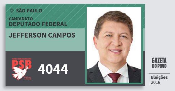 Santinho Jefferson Campos 4044 (PSB) Deputado Federal | São Paulo | Eleições 2018