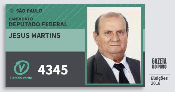 Santinho Jesus Martins 4345 (PV) Deputado Federal | São Paulo | Eleições 2018