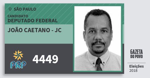 Santinho João Caetano - Jc 4449 (PRP) Deputado Federal | São Paulo | Eleições 2018
