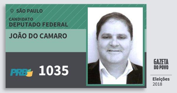 Santinho João do Camaro 1035 (PRB) Deputado Federal | São Paulo | Eleições 2018